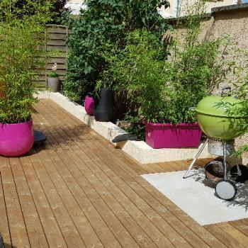 Rénovation d'une terrasse en composite en une terrasse en bois.